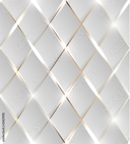 Seamless illustration of shiny golden background with 3d effect and glossy elements with flares