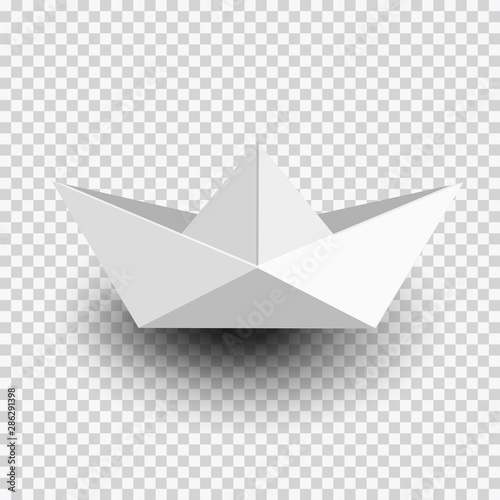 Origami white paper ship,boat isolated on transparent background Wallpaper Mural
