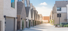 Panoramic Large Back Alley Of Brand New Three Story Houses Community Near Downtown Dallas