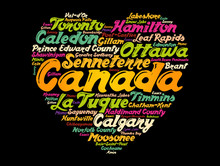 List Of Cities And Towns In Canada Composed In Love Sign Heart Shape, Word Cloud Background