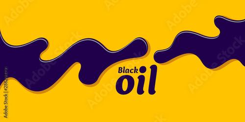 Fototapeta Black oil stain on bright yellow background. Vector illustration. obraz