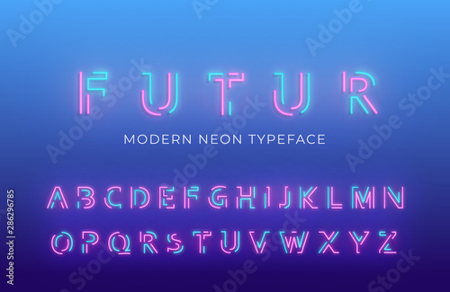 Photo Neon light alphabet font