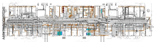 Fotografie, Obraz  Top view of BIM model conceptual visualization of the utilities of the building
