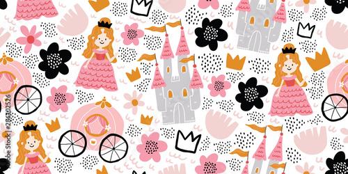 Dziecinna wzór z księżniczką, zamek