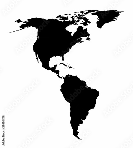 Photo The american continent silhouette map