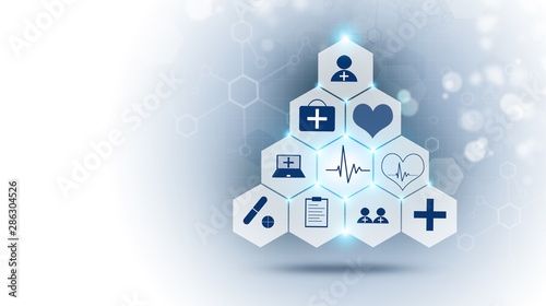 Photo sur Aluminium Graffiti collage healthcare icons tree blue background