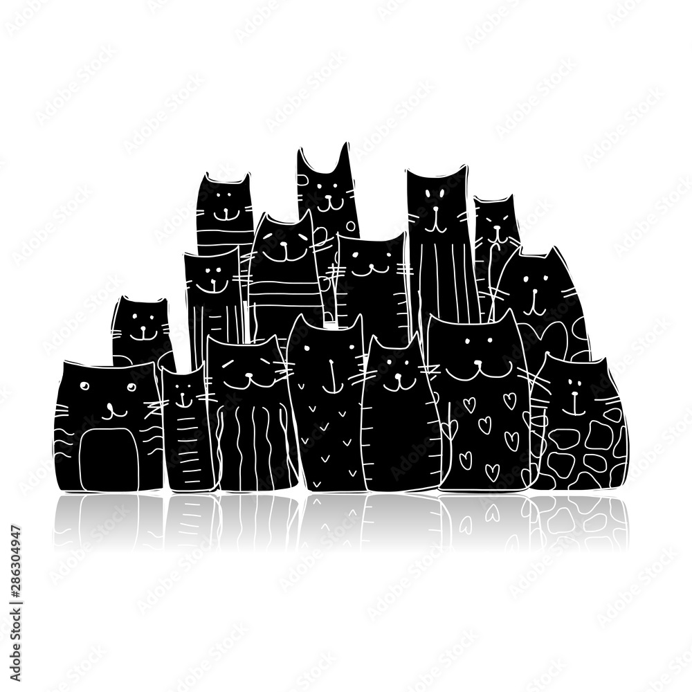 Fototapety, obrazy: Black cats, sketch for your design