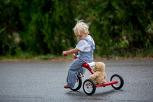 Cute Little Boy, With Teddy Bear Toy, Riding Tricycle On The Street In The Rain, Barefeet