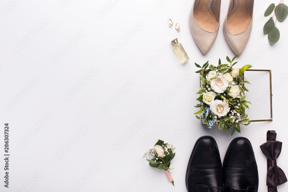 Fototapety, obrazy: Wedding shoes and accessories on white background