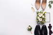 canvas print picture - Wedding shoes and accessories on white background
