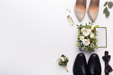 Wedding Shoes And Accessories On White Background