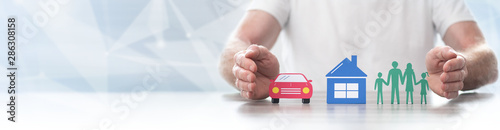 Fototapeta Concept of life, home and auto insurance- Panoramic banner obraz