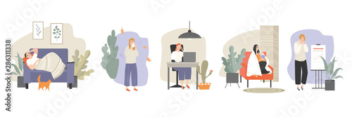 Set of vector illustrations of people suffering from a cold in different situations at work and at home