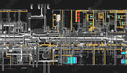 Pinturas sobre lienzo  Top view of BIM model conceptual visualization of the utilities of the building