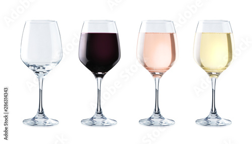 Photo sur Toile Alcool Variety of crystal glasses on white background