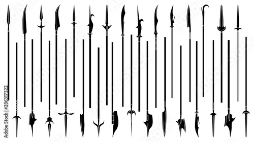 Cuadros en Lienzo Set of simple monochrome images of spears and halberds.