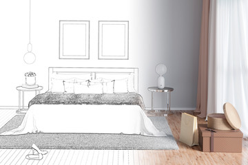3d illustration. Sketch of charming woman's bedroom with painting becomes a real interior. Front view