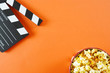 Leinwanddruck Bild - movie, cinema video concept. movie clapper board with copy space.