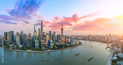 Aerial view of Shanghai skyline at sunset,China. Wallpaper Mural