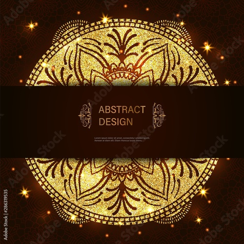 Fototapeta Abstract Luxury Glitter Mandala On Dark Background With Shine Light Ornament Elegant Invitation For Wedding Card Gift Invite With Royal