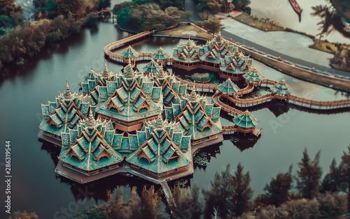 Spoed Fotobehang Bedehuis Ancient city Muang Boran from above in Bangkok Thailand