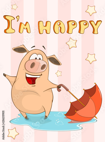 Poster Baby room Happy Birthday Card. Little Pig and Umbrella. Vector Greeting Card. Happy Moment. Congratulation