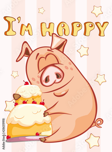 Poster Baby room Happy Birthday Card Little Pig with Gift Pie. Vector Greeting Card. Happy Moment. Congratulation