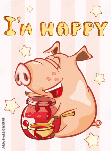 Poster Baby room Happy Birthday Card Little Pig. Vector Greeting Card. Happy Moment. Congratulation