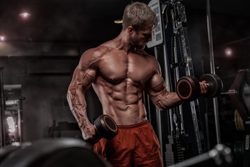 Fototapeta na wymiar Brutal handsome Caucasian bodybuilder working out training in the gym gaining weight pumping up muscles and poses fitness and bodybuilding concept