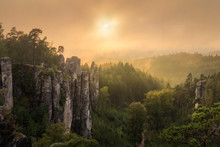 Fairy Sunset Over Prachovske Skaly - Rock Towns And Formations, Czech Republic