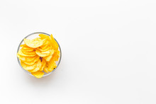 Potato Crisps In Bowl On White Background Top View Mockup