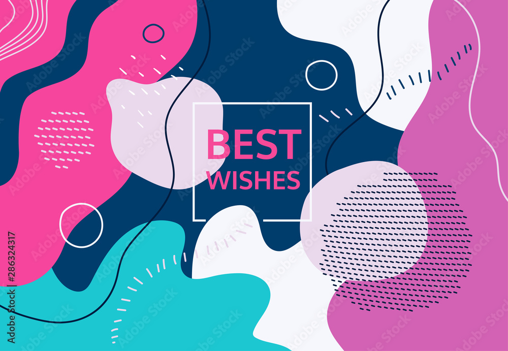 Fototapety, obrazy: Best wishes - modern flat design style abstract banner