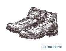 Hand Drawn Hiking Boots. Isola...