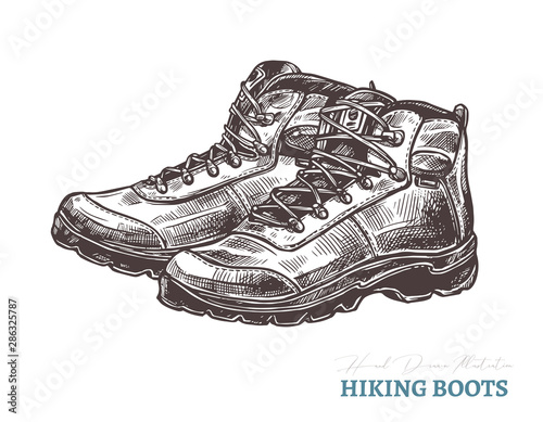 Hand drawn hiking boots Tableau sur Toile
