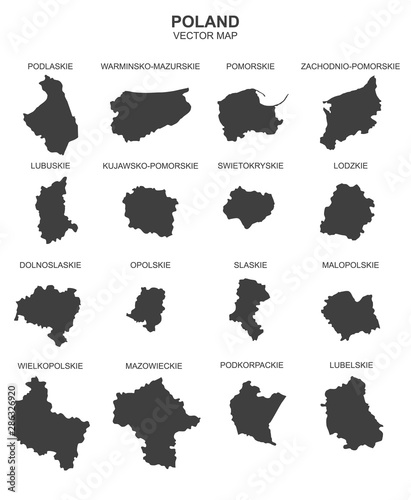 vector map of Poland on white background