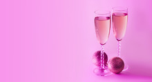 Sparkling New Year On The Pink Neon Background With Champagne. Christmas And Happy New Year 2020 Concept. Copy Space.