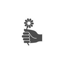 Flower Picking Hand Black Vector Icon. Hand Holding Petal Flower Simple Glyph Symbol.