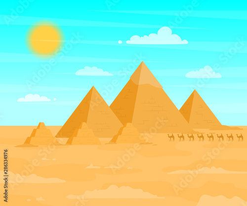 Tuinposter Turkoois Egyptian Pyramids Travel and Tourism Concept on a Desert Landscape Background Scene. Vector