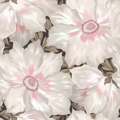 Fototapeta Do salonu Floral seamless pattern. Flower background. Flourish tiled wallpaper with flowers.