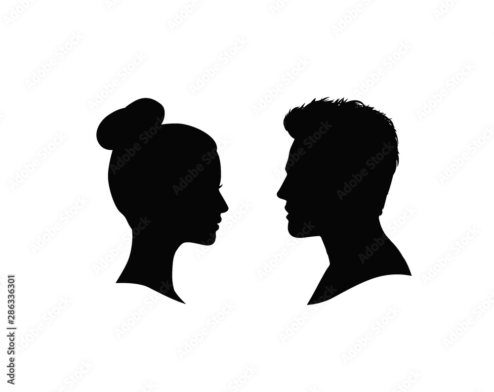 Fototapeta Couple faces silhouette. Man and woman profile.