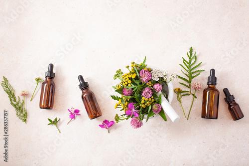 Fotomural  medical flowers herbs in mortar essential oils in bottles