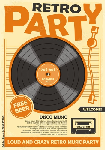 Retro party poster template with vinyl record and audio cassette tape. Disco music and dance event promotion. Musical vector illustration.