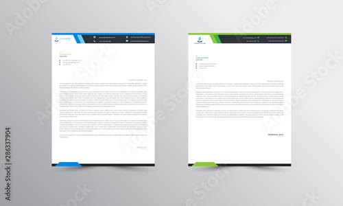 Fototapeta blue  and green Abstract Letterhead Design Template - vector obraz