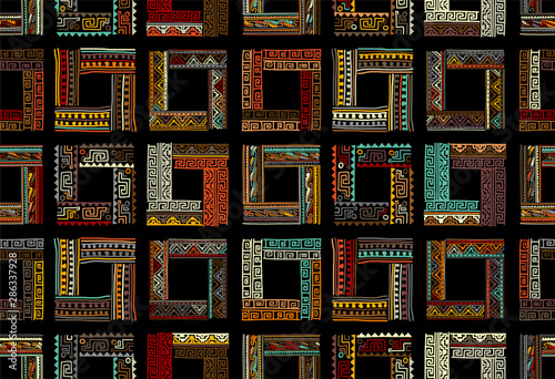 Photo Abstract ethnic frames, seamless pattern for your design