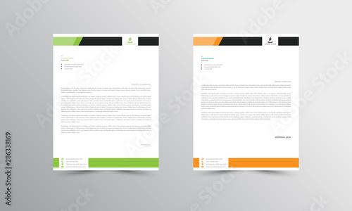 Fototapeta green and orange Abstract Letterhead Design Template - vector obraz