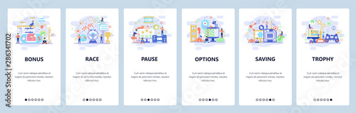 Mobile app onboarding screens. Computer games, cybersport, game options, race. Menu vector banner template for website and mobile development. Web site design flat illustration - 286341702