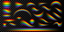 Vector Illustration. Isolated Set Of Rainbows In Different Shapes With Transparency At The Ends. Twisted, Convex, Curved And Wavy Forms. Colored Design Elements For Use On Dark Backgrounds