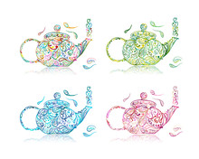 Teapot Sketch With Floral Tea ...