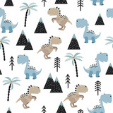 Fototapeta Dinusie - Seamless pattern with cute dinosaurs. Vector dino background for kids in scandinavian style.