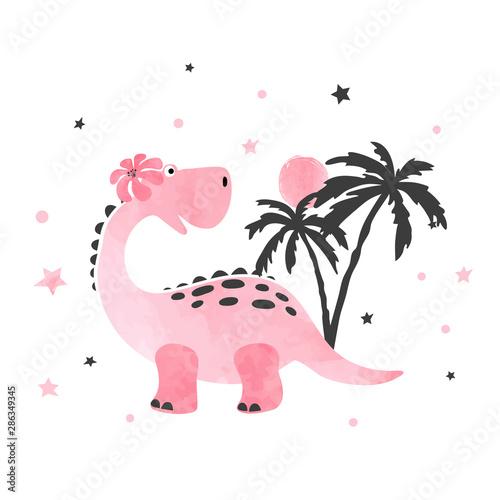 Cute little dinosaur vector illustration for kids design.